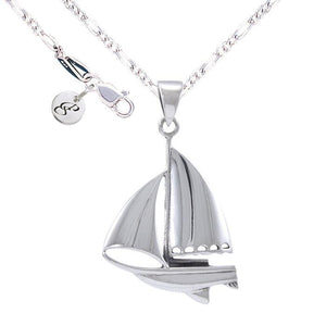 Sail Boat Silver Necklace Set TSE695 peterstone.