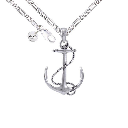 Anchor Rope Silver Necklace Set TSE696 peterstone.