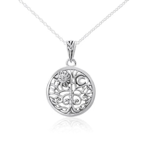 Silver Tree of Life Pendant and Chain Set TSE723 peterstone.