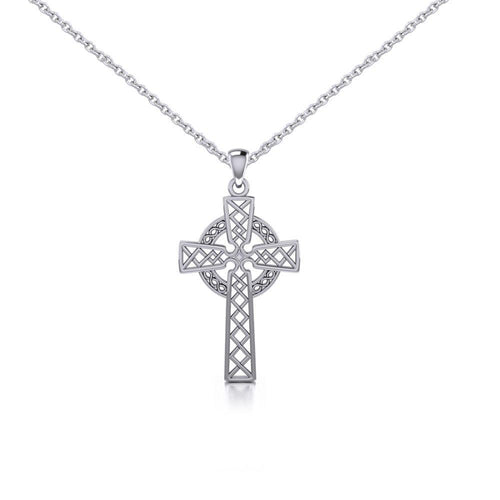 Silver Hollow Celtic Cross Pendant and Chain Set TSE731 peterstone.