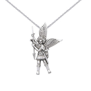 Silver Archangel Michael Pendant and Chain Set TSE732 peterstone.