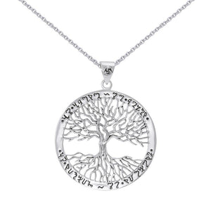 Silver Wiccan Tree of Life with Rune Pendant and Chain Set by Mickie Mueller TSE737