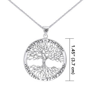 Silver Wiccan Tree of Life with Rune Pendant and Chain Set by Mickie Mueller TSE737 peterstone.