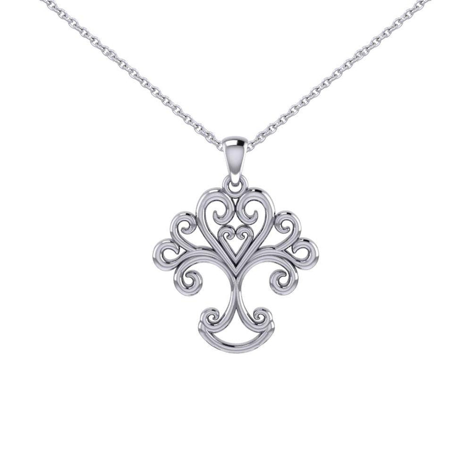 Silver Modern Tree of Life Pendant and Chain Set TSE739 peterstone.