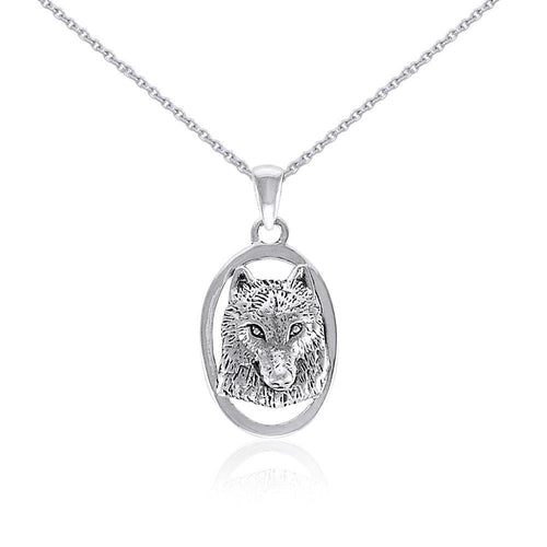 Silver Wolf Head Pendant and Chain Set by Ted Andrews TSE741 peterstone.