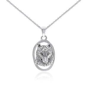 Silver Wolf Head Pendant and Chain Set by Ted Andrews TSE741