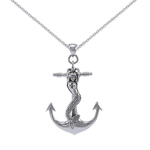 Large Silver Mermaid and Anchor Pendant and Chain Set TSE743 peterstone.