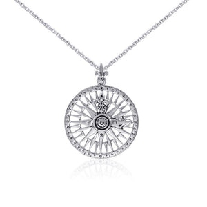 Silver Compass Rose Pendant and Chain Set TSE745 peterstone.