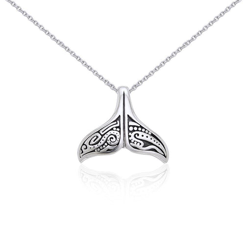 Silver Aboriginal Whale Tail Pendant and Chain Set TSE747 peterstone.
