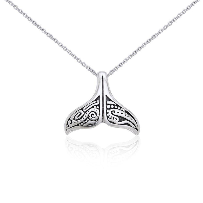 Silver Aboriginal Whale Tail Pendant and Chain Set TSE747