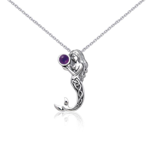 Silver Celtic Mermaid Gemstone Pendant and Chain Set by Selina Fenech TSE758 peterstone.