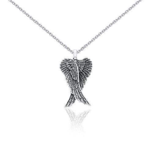 Small Silver Angel Wings Pendant and Chain Set TSE760 peterstone.