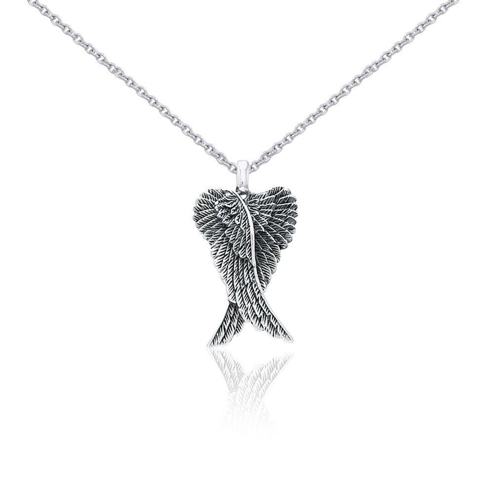 Small Silver Angel Wings Pendant and Chain Set TSE760