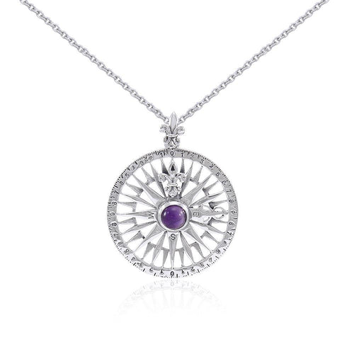 Silver Compass Rose Gemstone Pendant and Chain Set TSE764 peterstone.