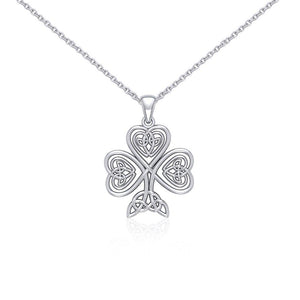 Silver Celtic Shamrock Pendant and Chain Set by Courtney Davis TSE768