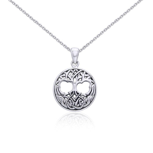Silver Celtic Tree of Life Pendant and Chain Set TSE780 peterstone.