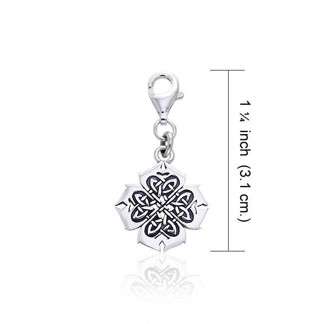 Modern Shamrock Celtic Knotwork Silver Clip Charm TWC042 peterstone.
