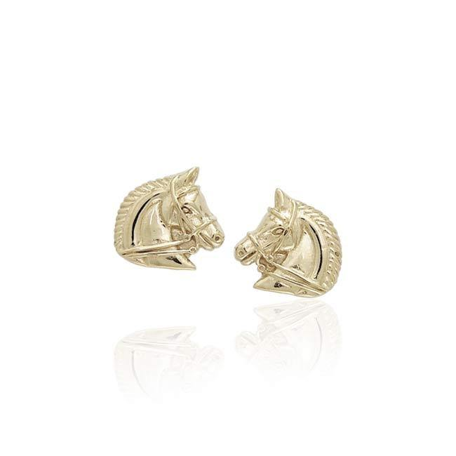 Horses 14k Gold Post Earrings VER931