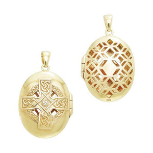 Celtic Cross Gold Vermeil Aroma Locket VPD1414 peterstone.