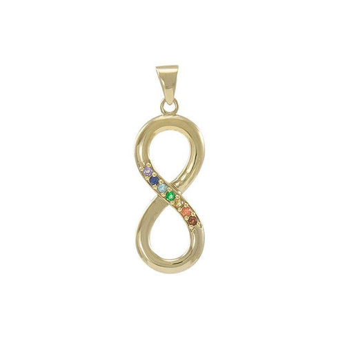 Symbol of Infinity with Gemstone Gold Vermeil Pendant VPD4457 peterstone.