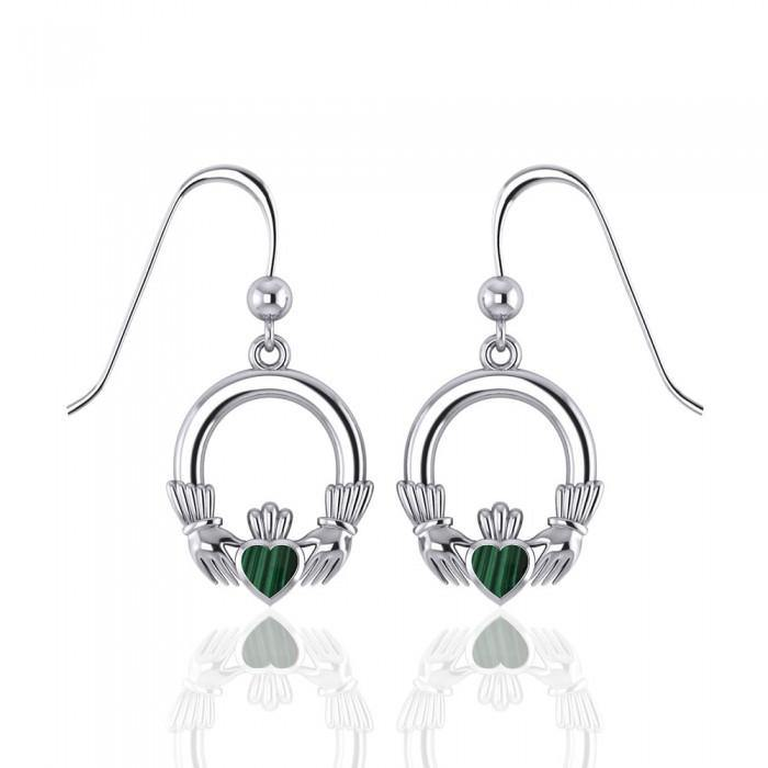 Irish Claddagh with Malachite Inlay Sterling Silver Earrings WE142 peterstone.