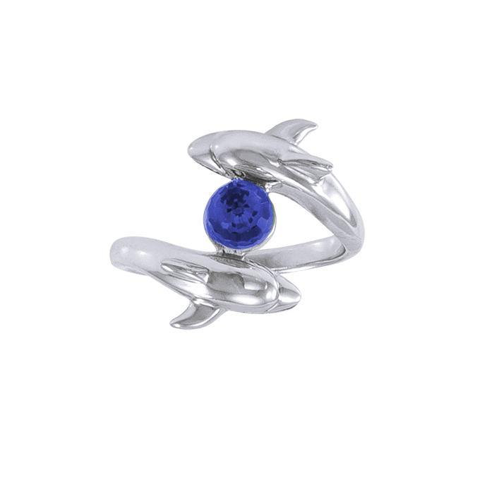 Dolphin and Gemstone Sterling Silver Ring WR201 peterstone.