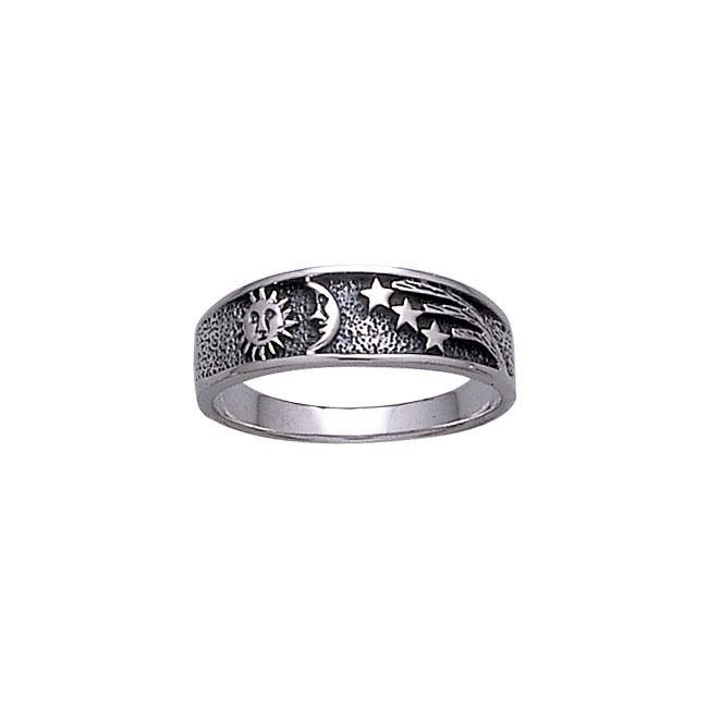 Sun Moon and Stars Sterling Silver Ring WR215