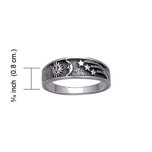Sun Moon and Stars Sterling Silver Ring WR215 peterstone.