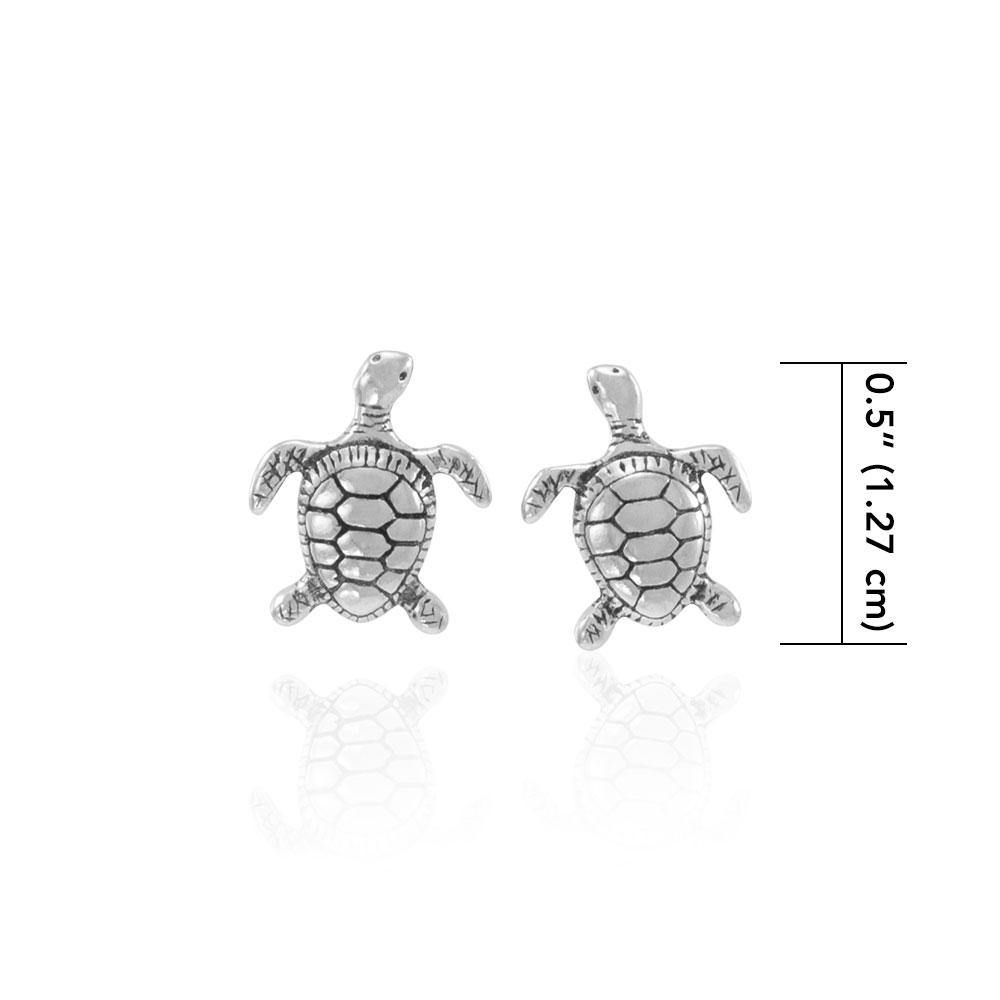 Silver Turtle Post Earrings JE206