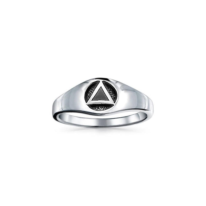 Triangle AA Recovery Symbol Silver Ring JR126