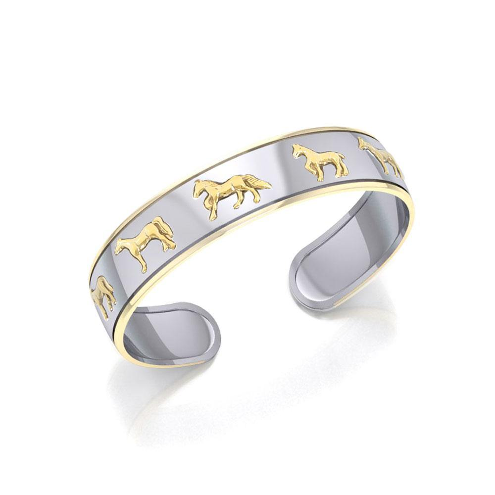 Friesian Horse Silver and Gold Cuff MBA043 peterstone.