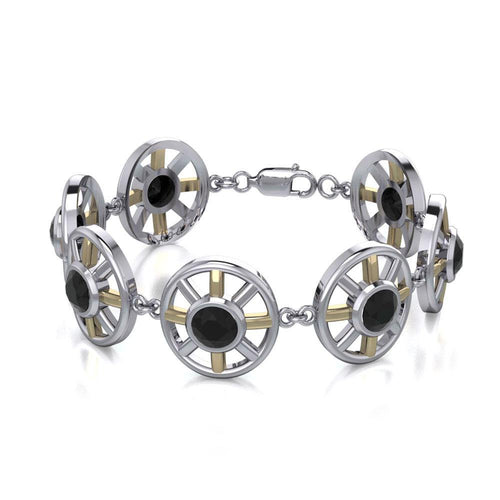 Blaque Circle Black Spinel Bracelet MBL095 peterstone.
