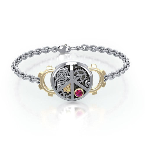 Peace Steampunk Silver and Gold Accent MBL291 peterstone.
