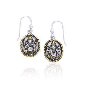 Ganesha Silver And Gold Earrings by Amy Zerner MER1116