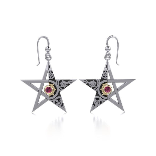 The Star Steampunk Silver and Gold Earrings MER1353 peterstone.