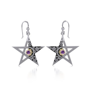 The Star Steampunk Silver and Gold Earrings MER1353