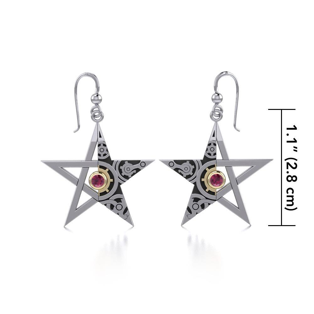 Pentacle Steampunk Silver and Gold Earrings