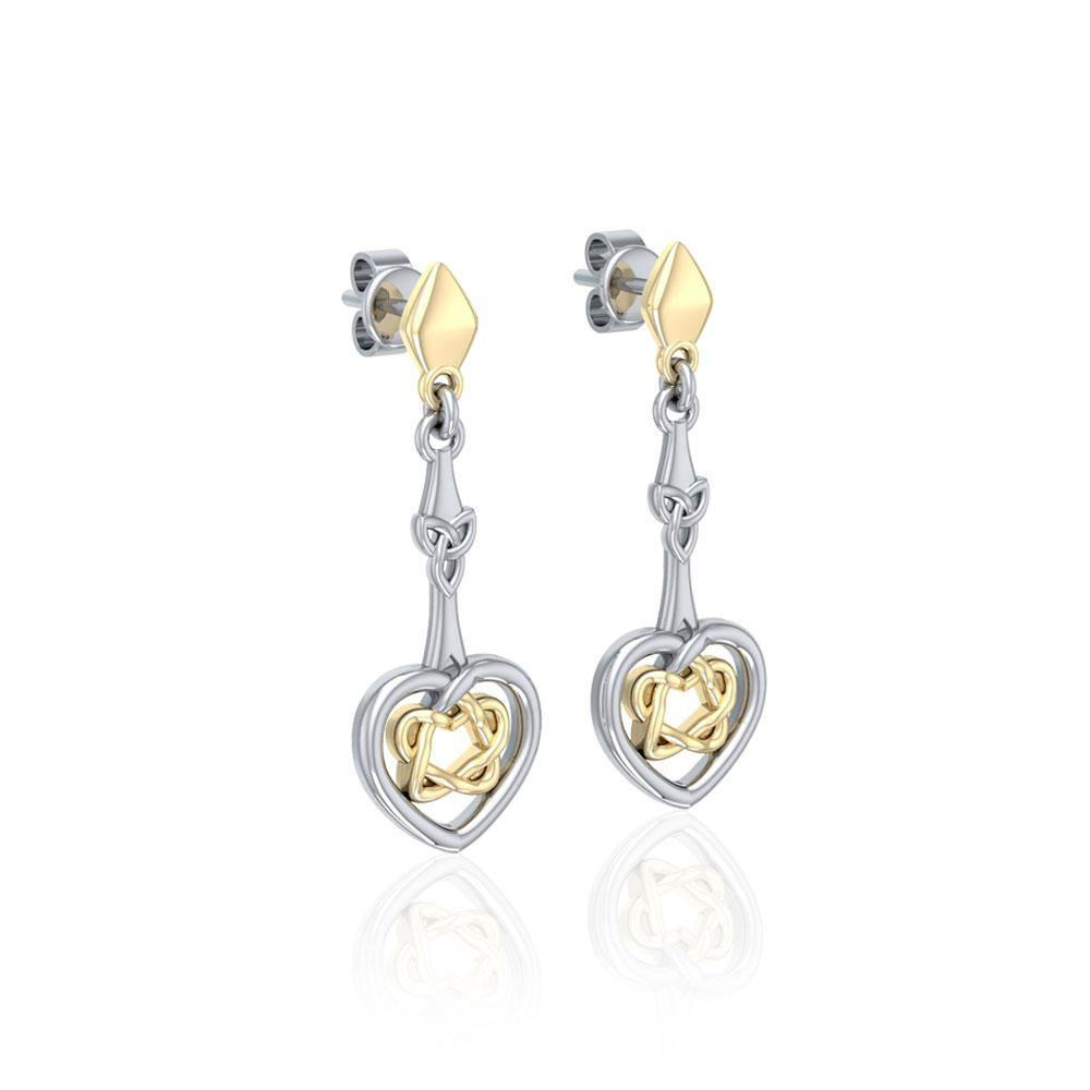 Celtic Heart Silver and Gold Post Earrings