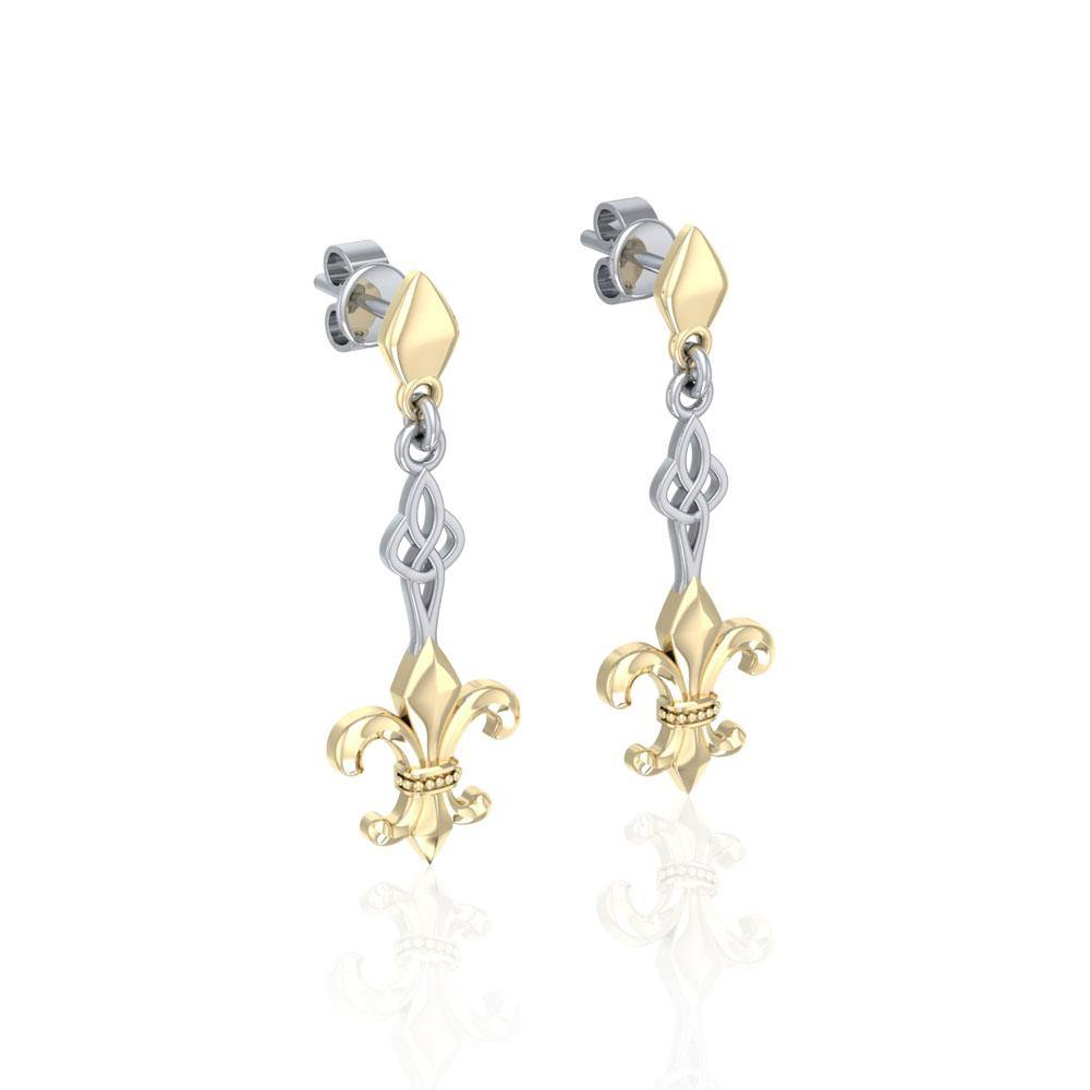 Majestic Fleur-de-Lis in Sterling Silver Jewelry Post Earrings with Gold accent
