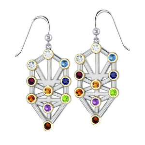 Kabbalah with Chakra Gemstone Silver and Gold Earrings MER1717 peterstone.