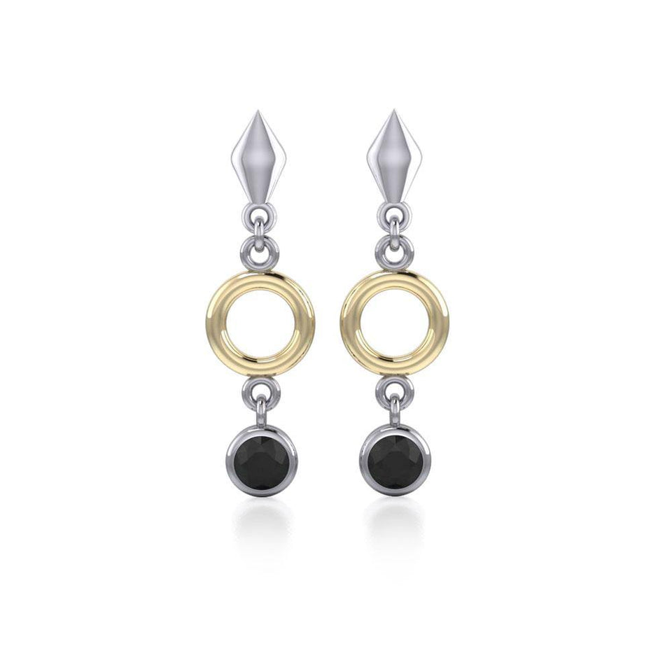 Blaque Circle Black Spinel Earrings MER382 peterstone.