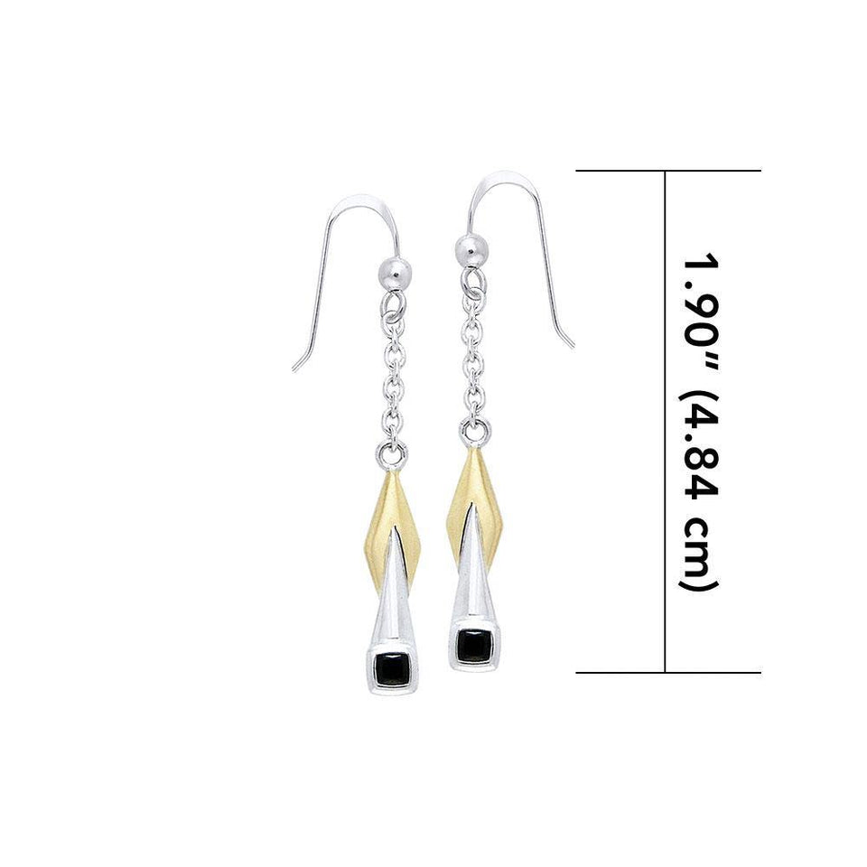 Blaque Silver & Gold Pendant Earrings MER399 peterstone.
