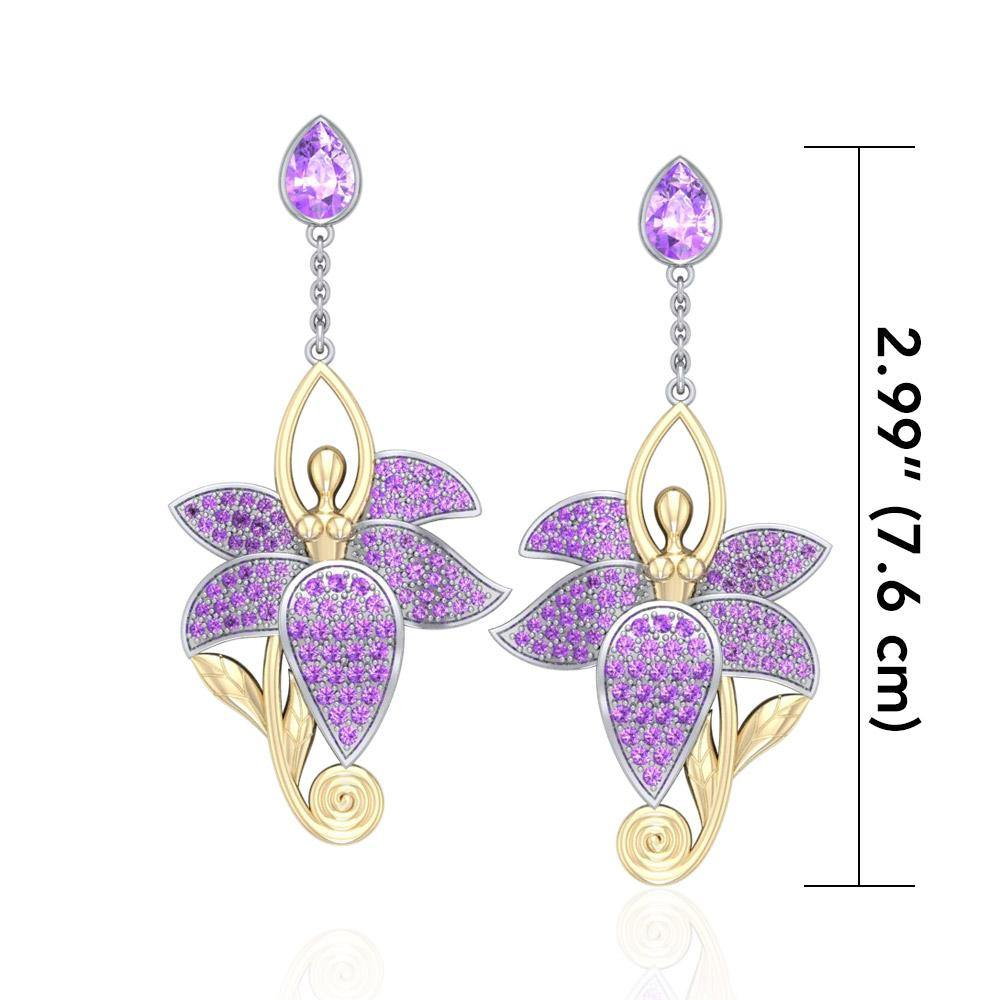 Dancing Lotus Silver, Gold & Gemstone Earrings MER520