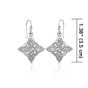 Celtic Four Point Knot Silver and Gold Earrings MER703 peterstone.