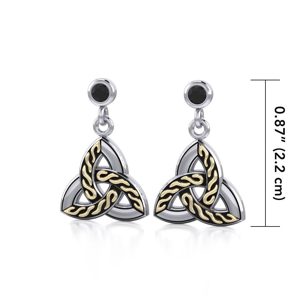 Celtic Trinity Knot Silver and Gold Post Earrings