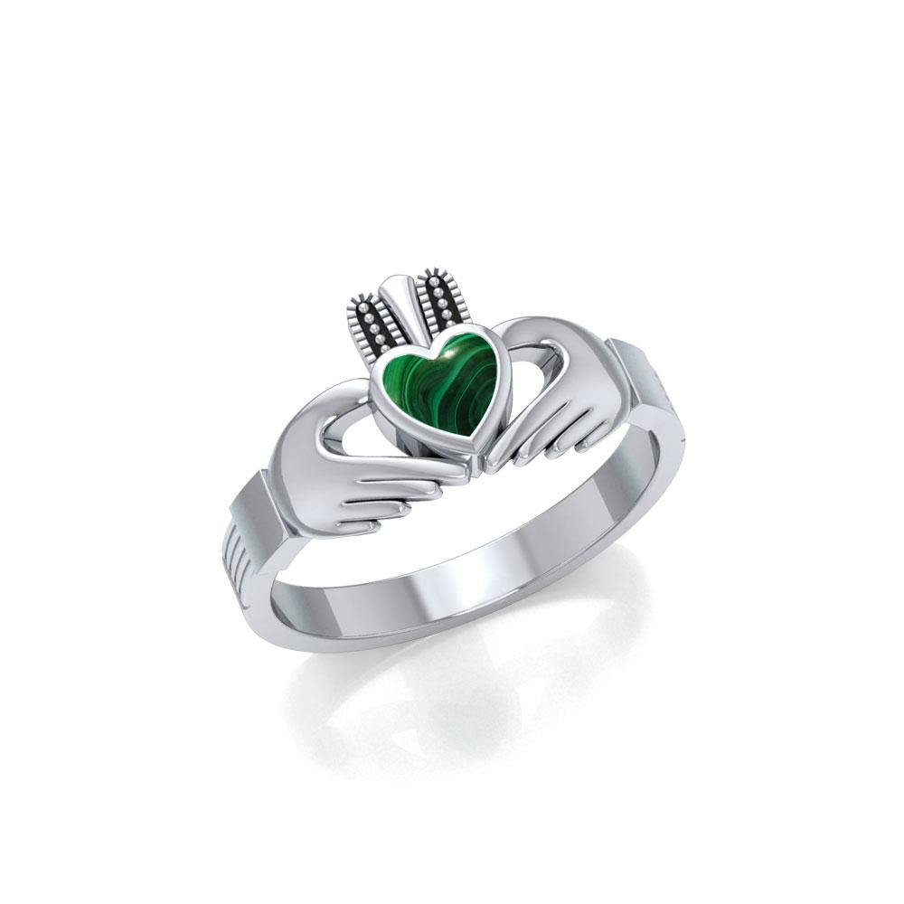 Irish Claddagh Silver Ring with Gem MG058