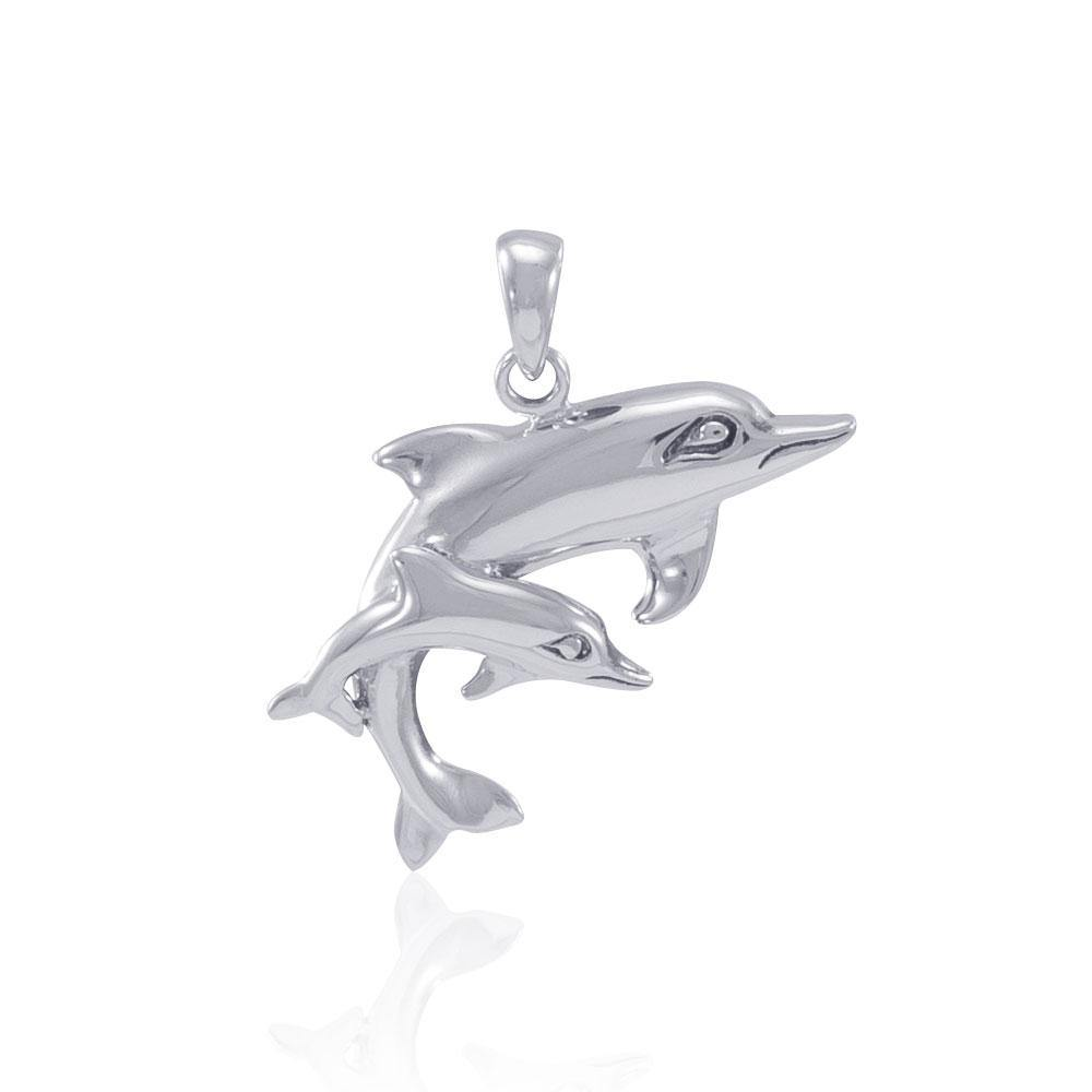 Silver Mother and Child Dolphin Pendant MG383