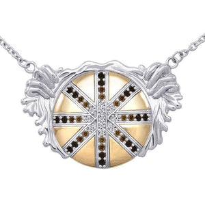 Breathtaking work of art  ~ Dali-inspired fine Sterling Silver Necklace in 18k Gold overlay accented with Champagne and White Diamonds peterstone.
