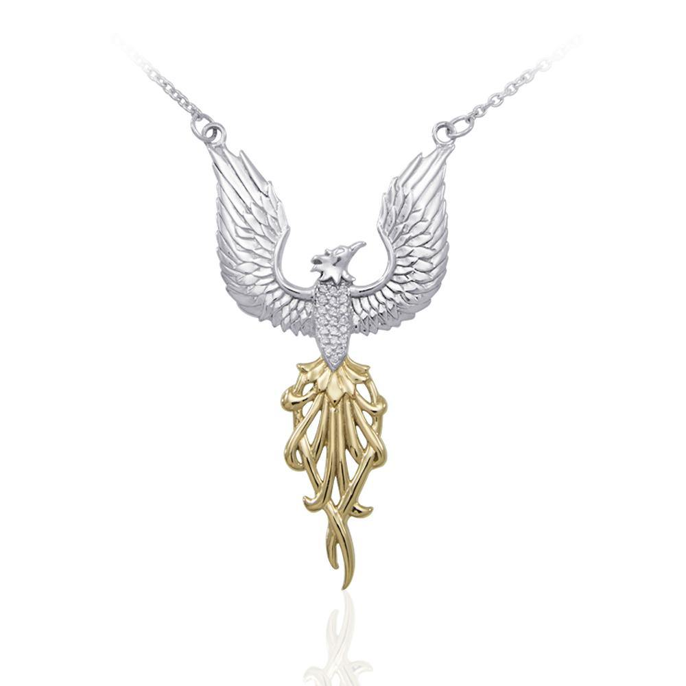 Alighting breakthrough of the Mythical Phoenix ~ Silver and Gold Necklace with Gemstone Accents