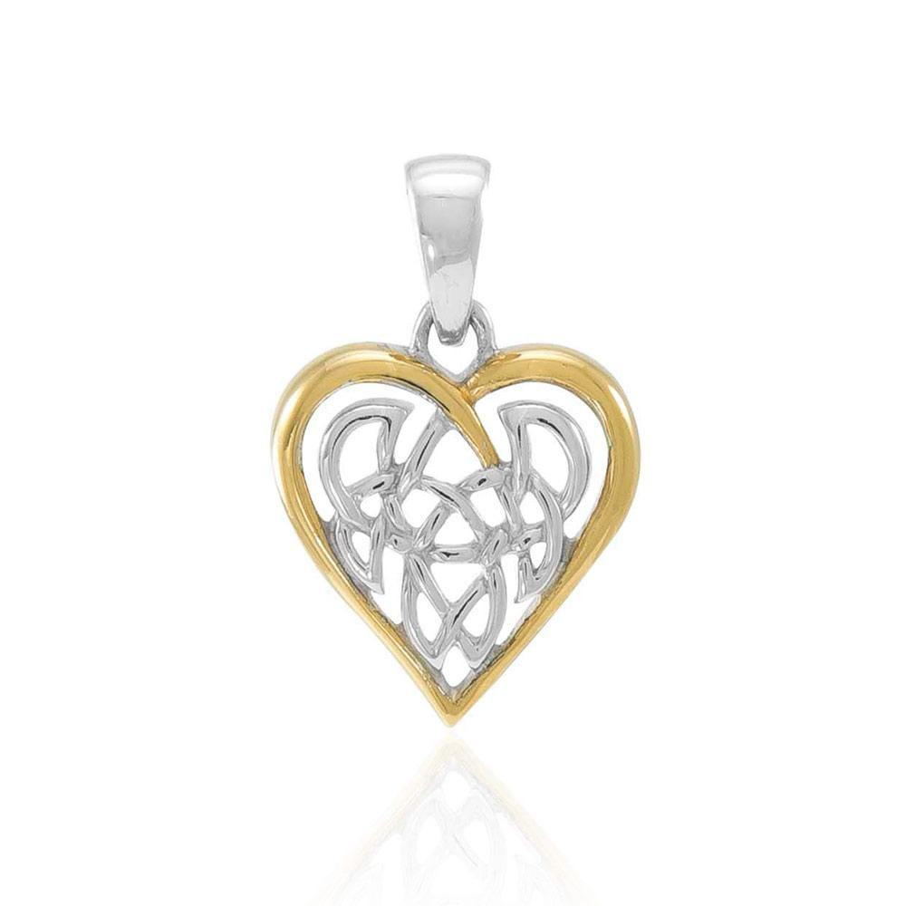 Celtic Knot Heart Silver and 18K Gold Accent Pendant